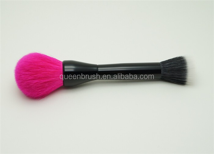 Plastic Handle Double Sided Powder Makeup Brush Goat Hair