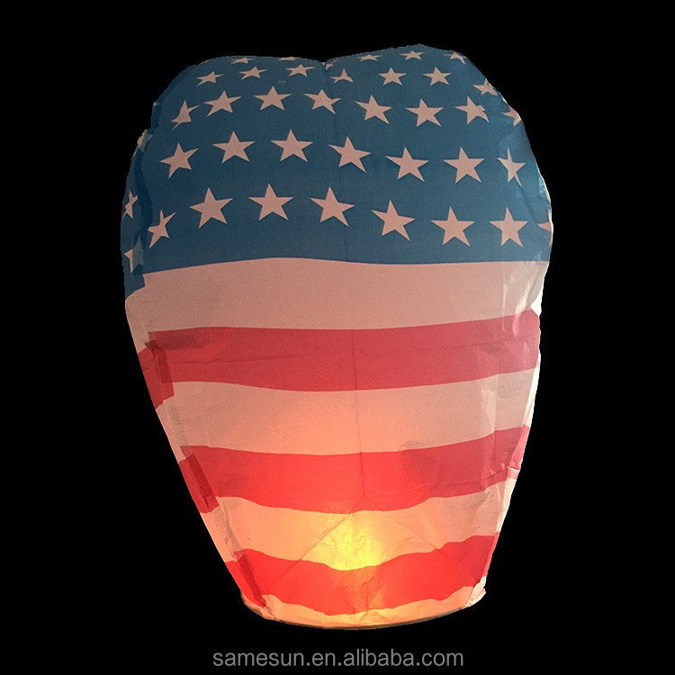 American Flag Printed Flying Chinese Sky lanterns