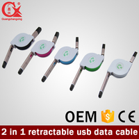 logo custom retractable 2 in 1 micro usb cable use for mobile phone charging&sync data