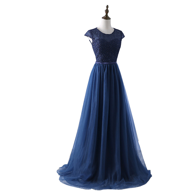 Wholesale 2017 New Arrive Navy Blue Red Prom Dress Lace Tulle A-line Formal Long Evening Party Dress
