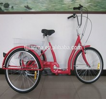 Tricycle 26'' Bike Convenient for shopping Bicycle Steel Frame commuter stable Red Bike