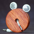 Wooden headphones storage, real wood earphone wire holder cable holder
