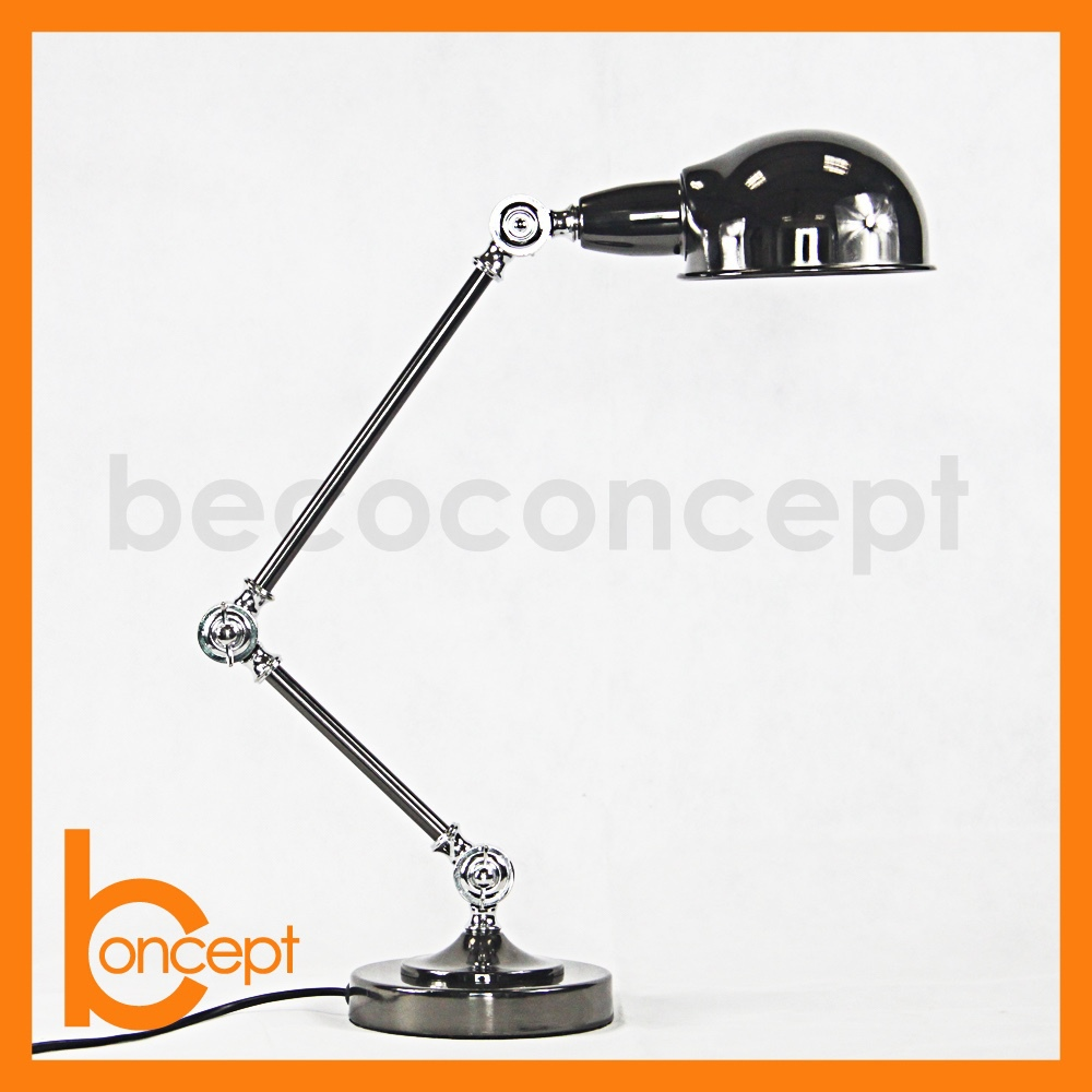 80CM Wrought Iron Retro Nickel Plated Adjustable Table Lamp