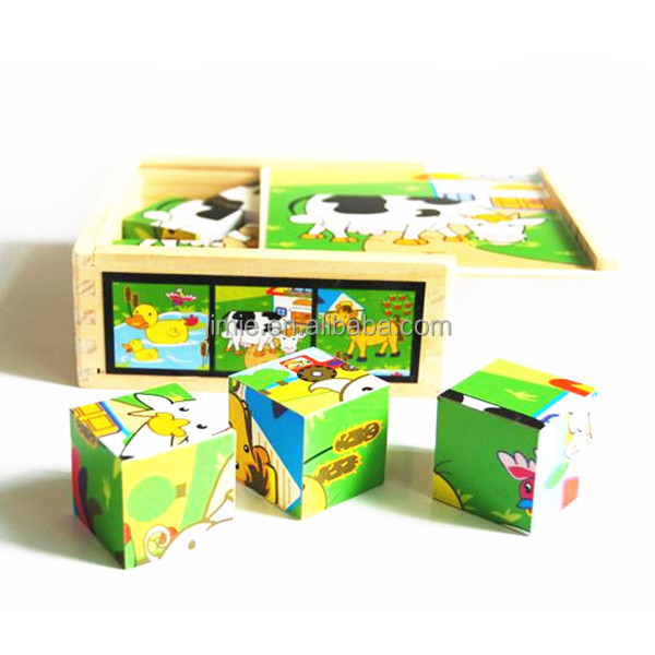 educational toy children playing custom paper cube puzzle game with wooden box