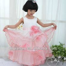 2013 long puffy multilayer pageant waist pearl white and pink flower girl net dresses for kids