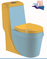 8815BY USA standard blue and yelllow sanitary colored ceramic toilet