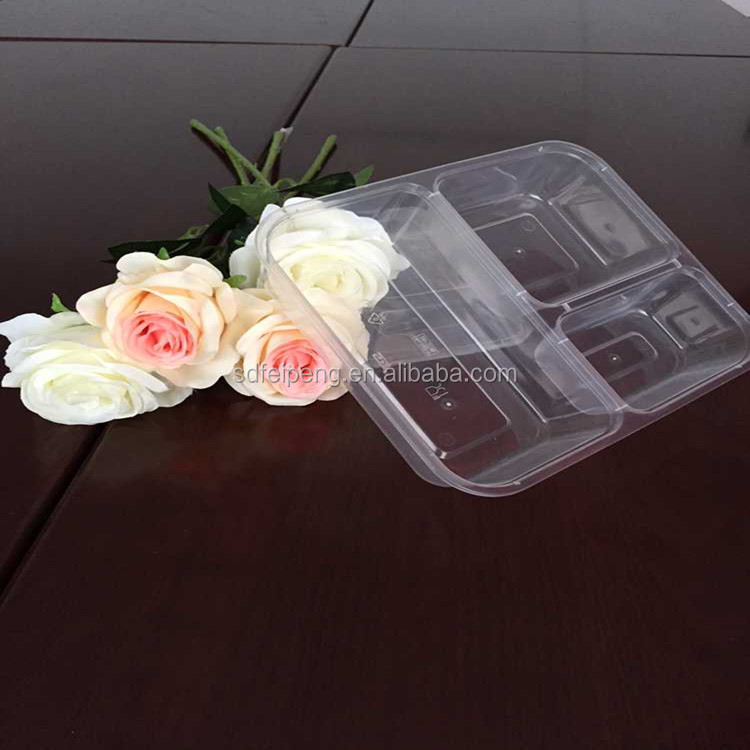 4 compartments Microwave Safe Disposable Plastic Lunch Box