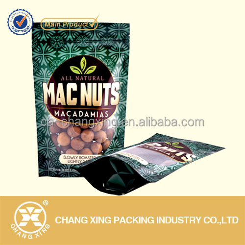 Custom design raisin/nuts/dry fruit plastic stand up packing bags with zip lock and window