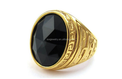 custom stainless steel gold plated rings with black stone for men jewelry alibaba hot sell