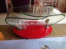 two tier red glass top coffee table