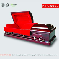 MAGISTRATE RED full color coffin with coffin liners and coffin trolley