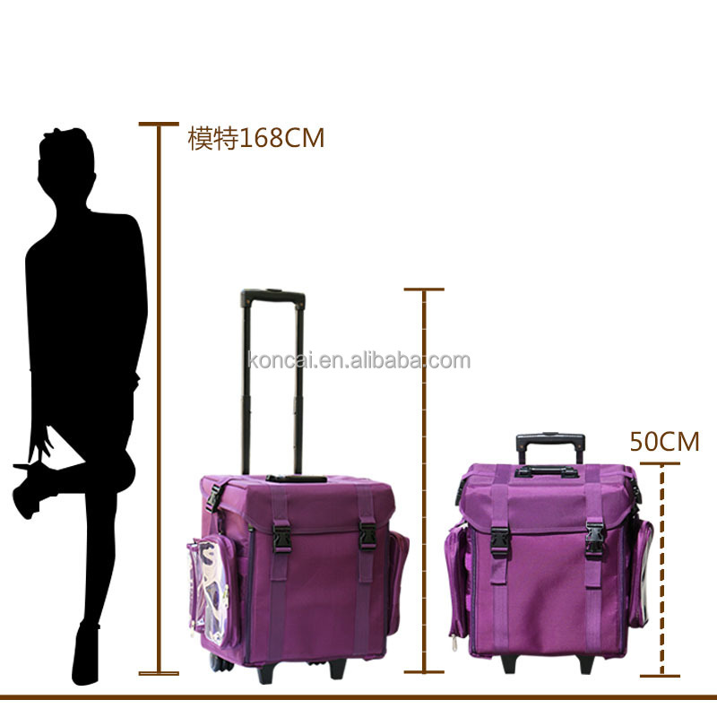 High quality Travel makeup case hairdresser tool case with wheels trolley Nylon makeup case
