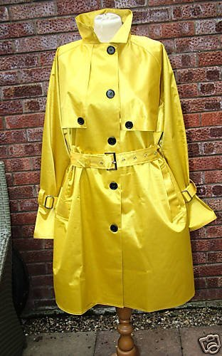 YELLOW SATIN RUBBERISED RAINCOAT WITH HOOD