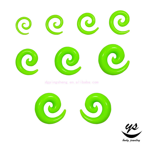 UV Acrylic green cheater plug ear expander fake spiral ear gauge spirals