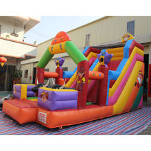 Commercial Outdoor Funny Playground Water Slide 0.55 PVC inflatable bouncer with water slide