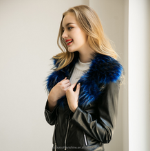 Women Imitation fox fur PU leather zipper motorcycle jacket with collar