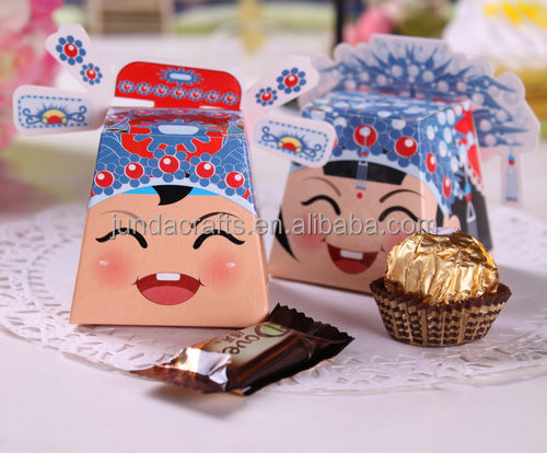 Bride and groom shaped small gift paper boxes for wedding favors candy and chocolates