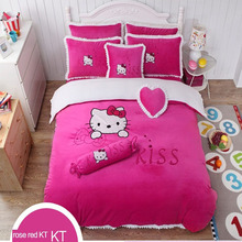 hot sale girl kids baby children pink cartoon embroidery velvet flannel quilt cover bedding set