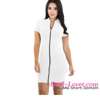 Hot Selling Fashion Zip Short Sleeve Mini Dress images of sexy white dresses