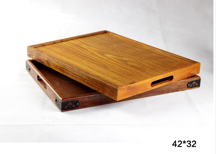 Eco friendly Large rectangular wooden tray carved wood serving tray with handle