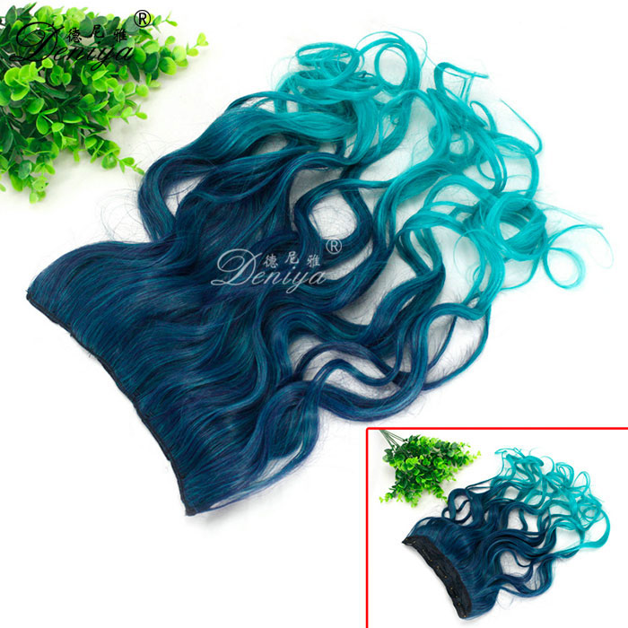 Japanese Fiber Hair Weave Two Tone Ombre One Piece Clip In Synthetic Hair Extensions
