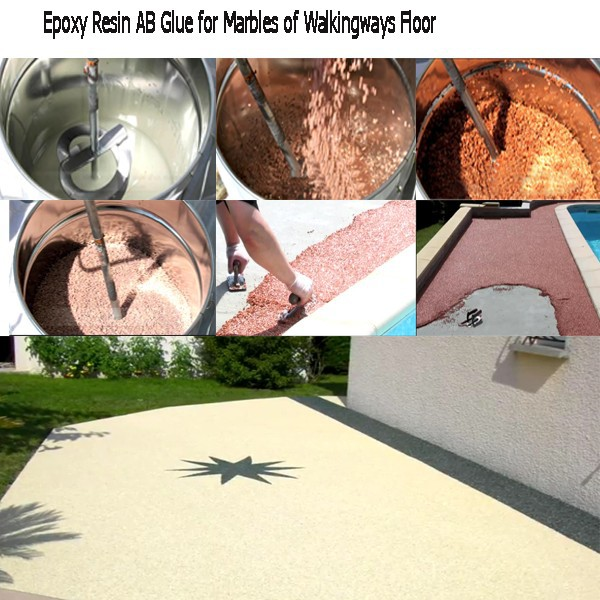 Clear Epoxy Resin AB Glue mix with stone for Pavement