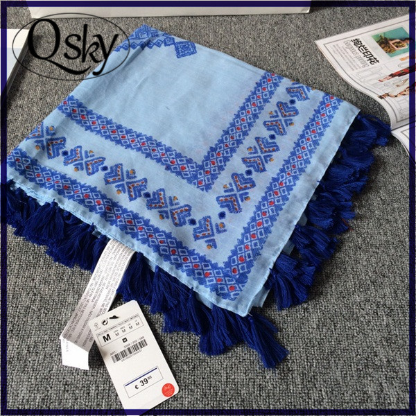 Qsky cotton 130*130 sqaure 100% polyester silk feel scarf for travel