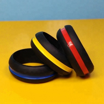 Thin Blue Line Debossed Ink Filled Vape Bands Three Colors Line Color Filled Unisex Silicone Rings