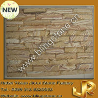 Grained wood edges chiselled stone veneer panels