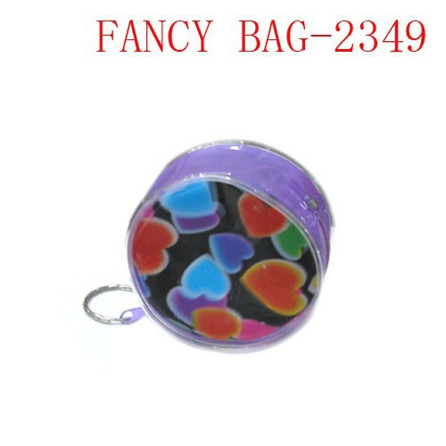 Fashion round shape full printed pvc zipper coin purse with key ring