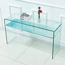 Contemporary Elegant Tempered Bent Clear Glass Console Table