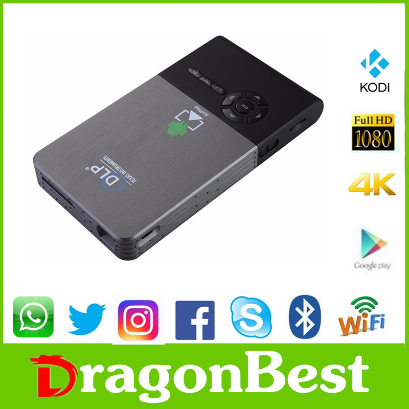 2016 Good price of DLP C2 RK3128 1G 8G Micro projector android tv box remote control amlogic s912 Speaker 1080P home theater
