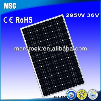 High efficiency 295W 36V Mono solar panel with CE, TUV, RoHS, UL Certificates