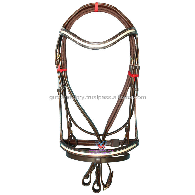 Snaffle bridle with raised patent and waved padded browband
