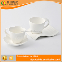 Wholesale modern design durable fine white LD12139 custom printed tea cups and saucers for wholesales