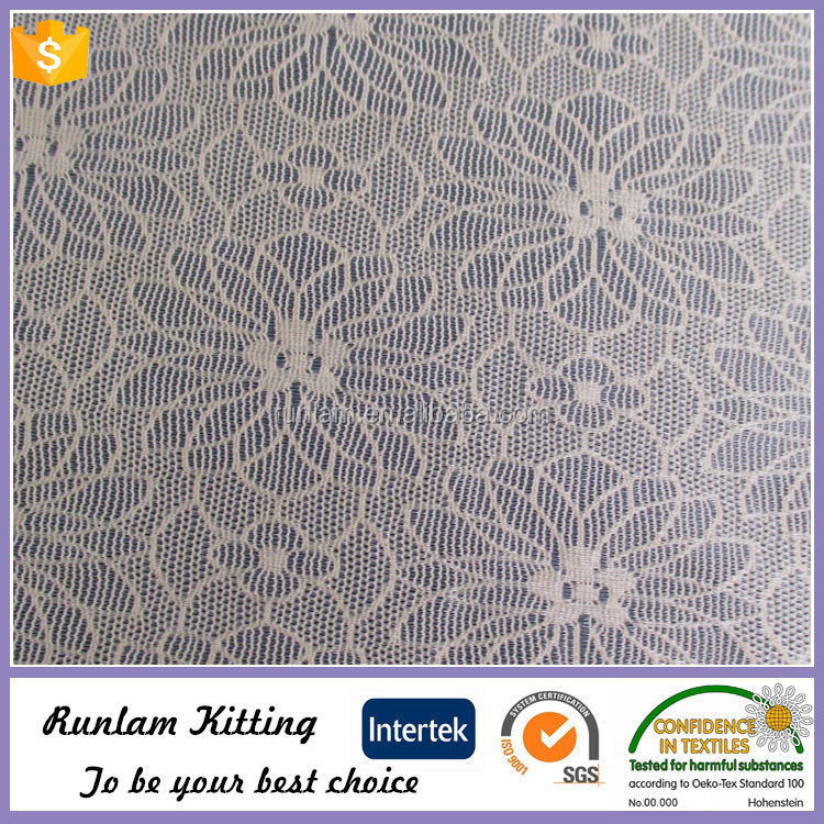flower pattern jacquard mesh fabric in lycra nylon spanndex lace