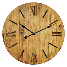 Shabby style wooden clock wooden board without glass big wooden wall clock