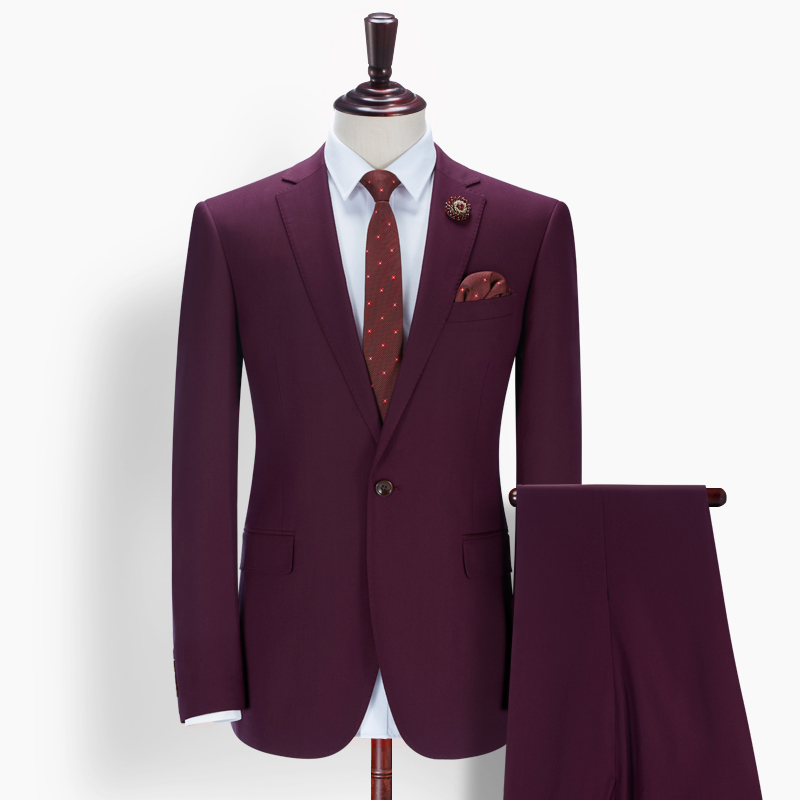 Men One Button Navy Red Color Wedding Suit For Men