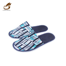 Soft Hotel LivingRoom Indoor Cotton Fabric Pinted Eva Men Slippers