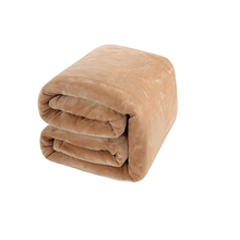 Super Soft Warm Light Tan Fuzzy Flannel Blanket Lightweight Bed or Couch Blanket for Winter/Autumn