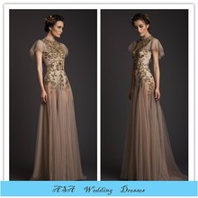 Sexy see through Vintage cap sleeve Embroided Formal dress burgundy evening Dress 2015(MOTB-089)