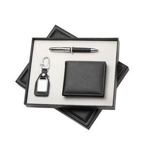 Gift For Men Genuine Leather Business Card Holder Signature Pen Key Chain Gift Set