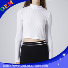 white plain crop tops wholesale women long sleeve