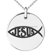 Stainless Steel Ichthus Cross Fish Symbol Engraved Small Medallion Circle Charm Pendant Necklace