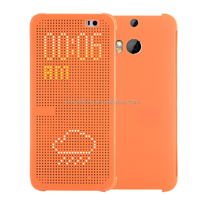 Slim Dot View Flip Phone Back Cover Case For HTC One M8