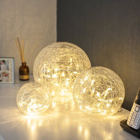 Set of 3 Battery Operated Crackled Glass Warm White Christmas LED Fairy Light Balls
