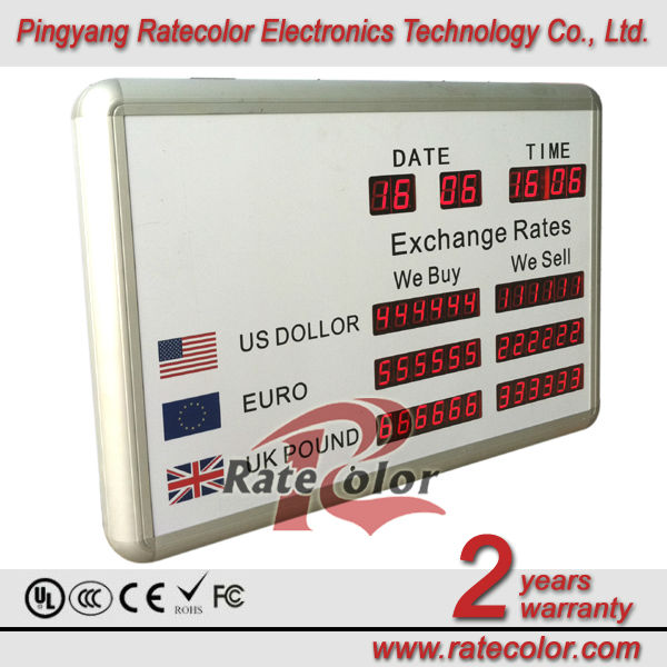 Indoor brightness led exchange currency sign/ led foreign exchange rates display board / led exchange banner