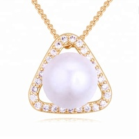 Pave cz women love guardian pearl necklace jewelry
