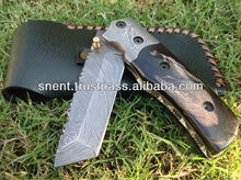 Custom Handmade Damascus Steel Tanto Folding, Pocket Knife