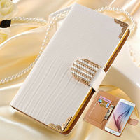 China mobile accessories wholesale shining rhinestone mobile phone case for Samsung S6 with 2 card slots